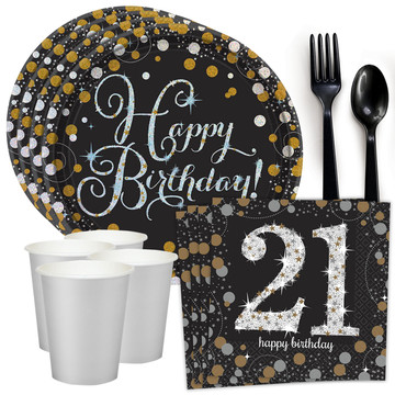 Sparkling Celebration 21st Birthday Standard Tableware Kit (Serves 8)