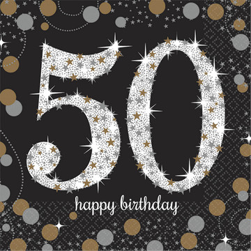 Sparkling Celebration 50th Birthday Beverage Napkins (16)
