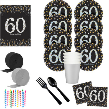Sparkling Celebration 60th Birthday Deluxe Tableware Kit (Serves 8)