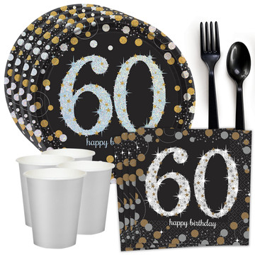 Sparkling Celebration 60th Birthday Standard Tableware Kit (Serves 8)