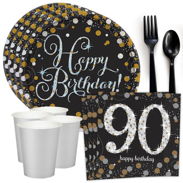 Sparkling Celebration 90th Birthday Standard Tableware Kit (Serves 8)