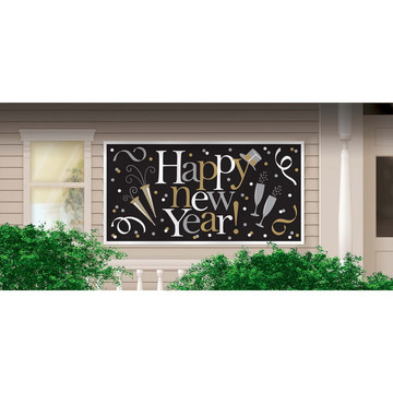 Sparkling Happy New Year Plastic Banner (1)