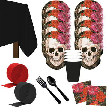 Spooky Floral Day of the Dead Deluxe Tableware Kit (Serves 8)