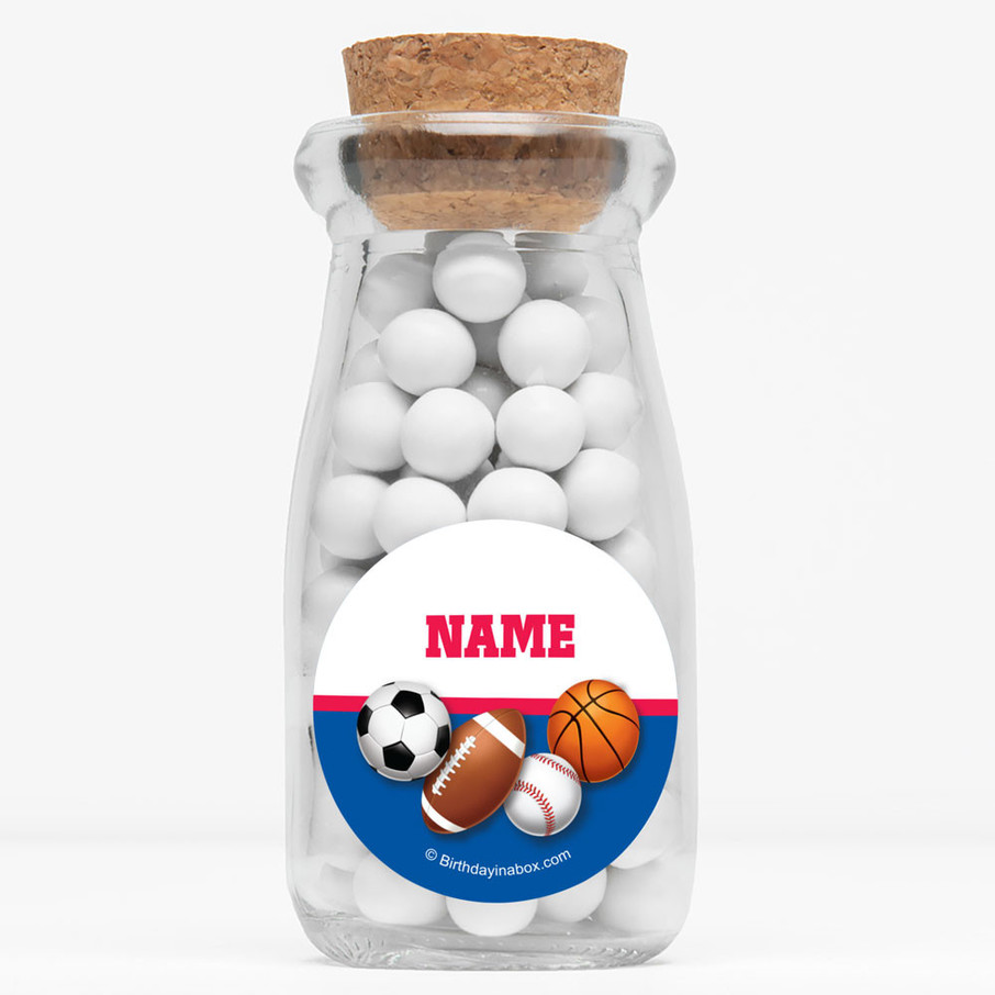 "View larger image of Sports Birthday Personalized 4"" Glass Milk Jars (Set of 12)"