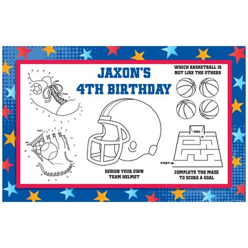 Sports Birthday Personalized Activity Mat (8 pack)