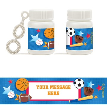Sports Birthday Personalized Bubbles (18 Pack)