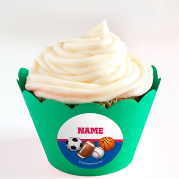 Sports Birthday Personalized Cupcake Wrappers (Set of 24)