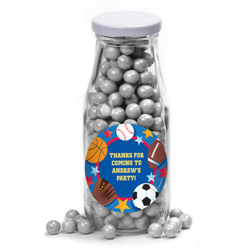 Sports Birthday Personalized Glass Milk Bottles (12 Count)