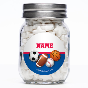 Sports Birthday Personalized Mason Style Jar (Set of 12)
