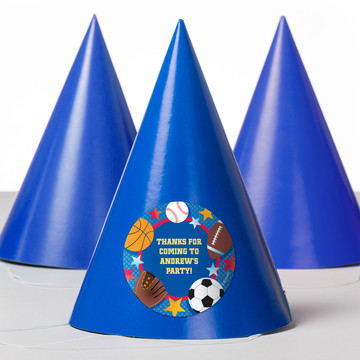 Sports Birthday Personalized Party Hats (8 Count)