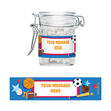 Sports Birthday Personalized Swing Top Apothecary Jars (12 ct)
