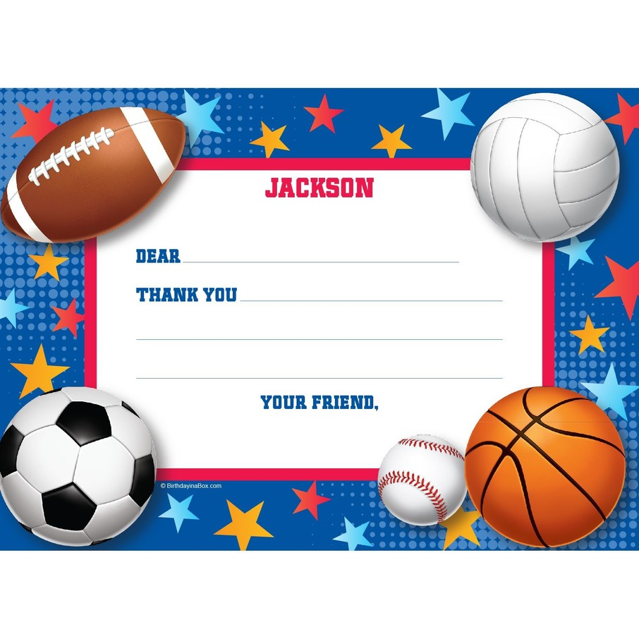 View larger image of Sports Birthday Personalized Thank You Note (each)