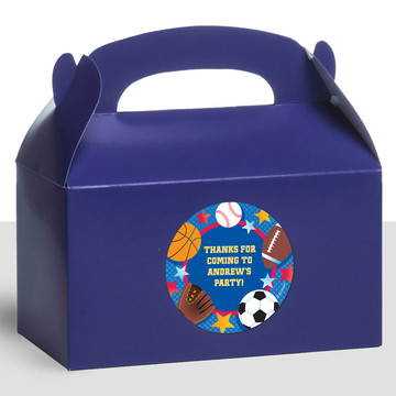 Sports Birthday Personalized Treat Favor Boxes (12 Count)
