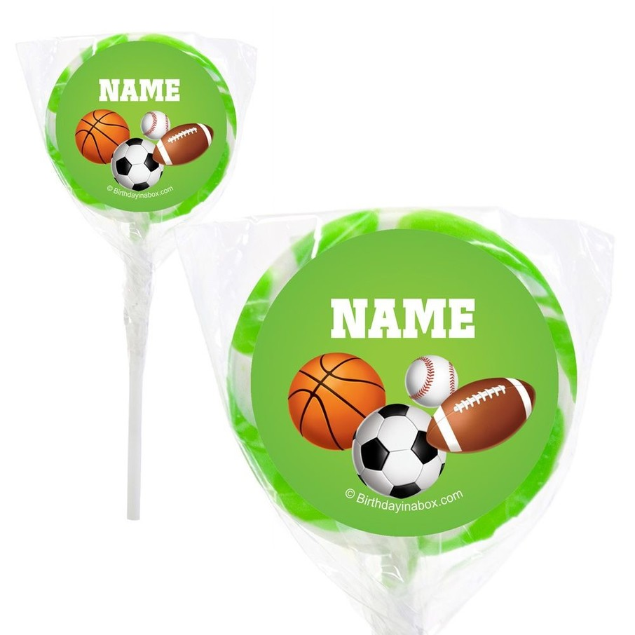"""View larger image of Sports Party Personalized 2"""" Lollipops (20 Pack)"""