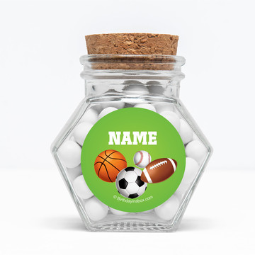 """Sports Party Personalized 3"""" Glass Hexagon Jars (Set of 12)"""