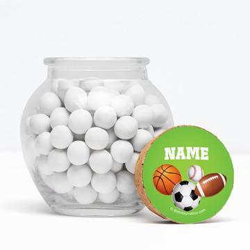 """Sports Party Personalized 3"""" Glass Sphere Jars (Set of 12)"""