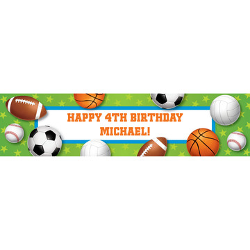 Sports Party Personalized Banner (each)