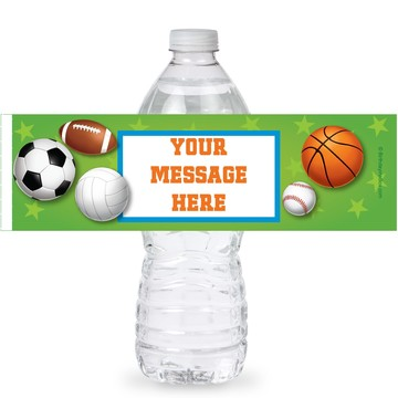 Sports Party Personalized Bottle Labels (Sheet of 4)