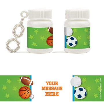 Sports Party Personalized Bubbles (18 Pack)