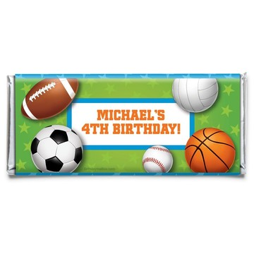 Sports Party Personalized Candy Bar Wrapper (Each)