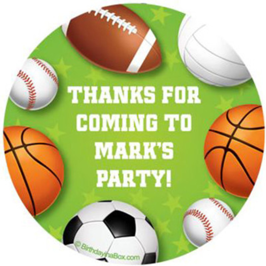 View larger image of Sports Party Personalized Stickers (sheet of 12)