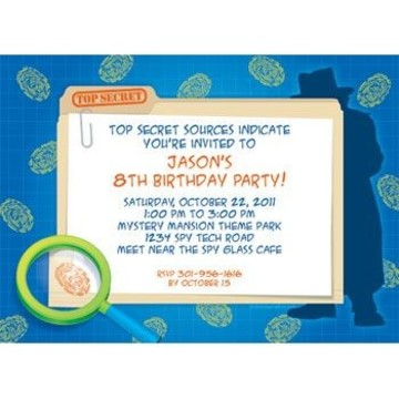 Spy Party Personalized Invitation (each)