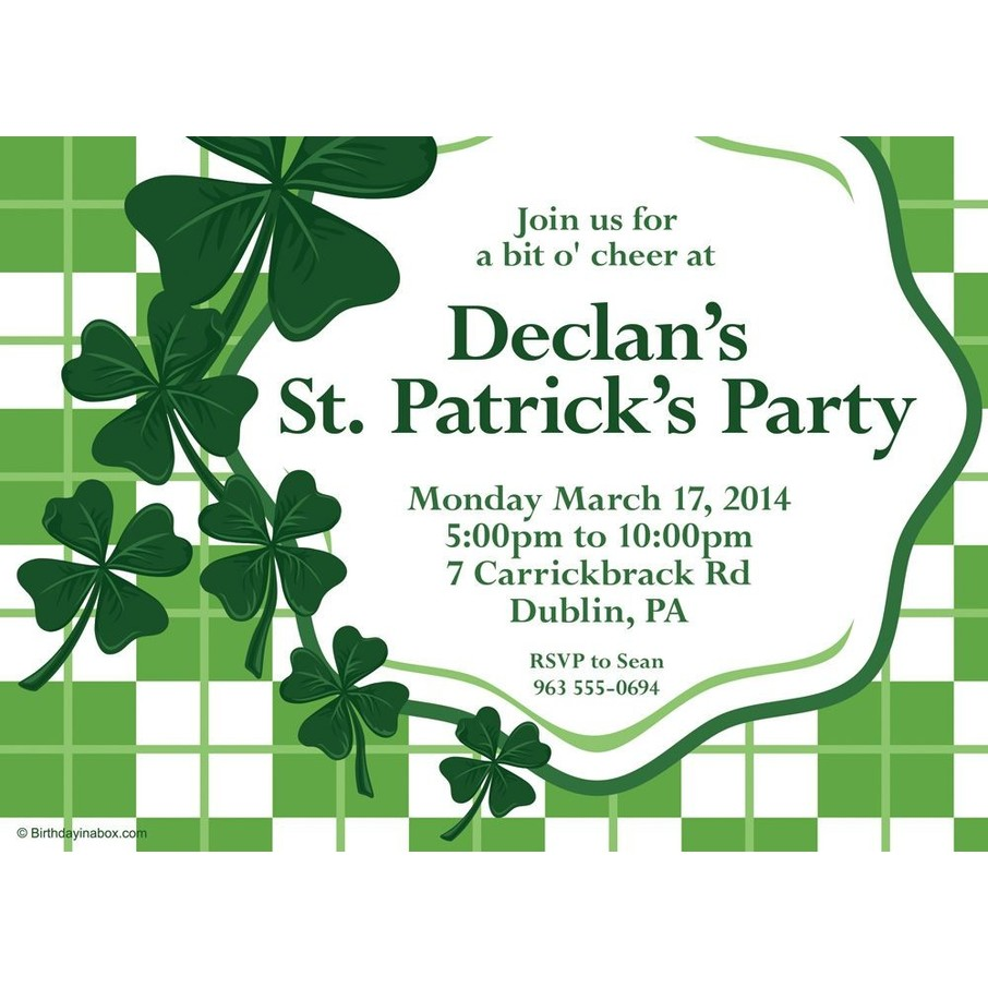 View larger image of St. Patrick's Day Personalized Invitation (Each)