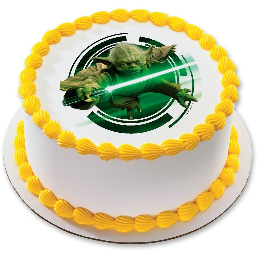 """View larger image of Star Wars Yoda 7.5"""" Round Edible Cake Topper (Each)"""