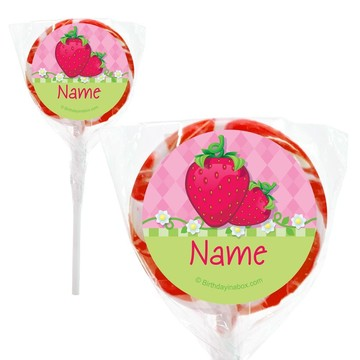 """Strawberry Friends Personalized 2"""" Lollipops (20 Pack)"""