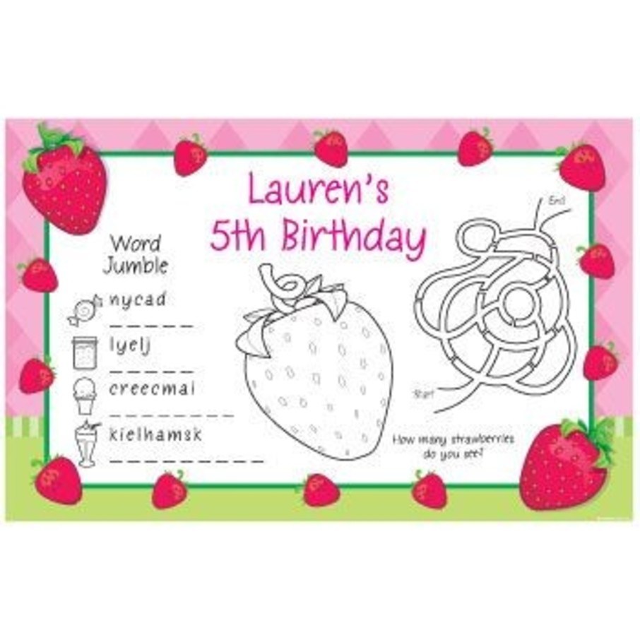 View larger image of Strawberry Friends Personalized Activity Mats (8-pack)