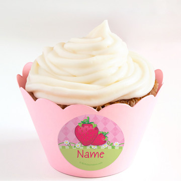Strawberry Friends Personalized Cupcake Wrappers (Set of 24)