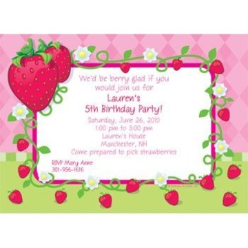 Strawberry Friends Personalized Invitation (each)