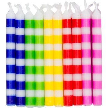 Striped Birthday Candles, Multicolor. (20-Pack)