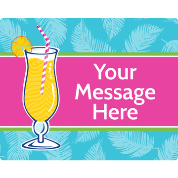 Summer Drinks Personalized Rectangular Stickers (Sheet of 15)