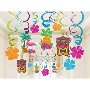 Summer Luau Foil Swirl Decorations (Each)