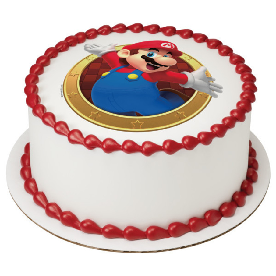"""View larger image of Super Mario 7.5"""" Round Edible Cake Topper (Each)"""