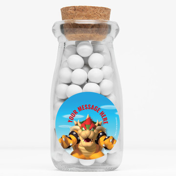 """Super Mario Bros. Bowser Personalized 4"""" Glass Milk Jars (12 Count)"""