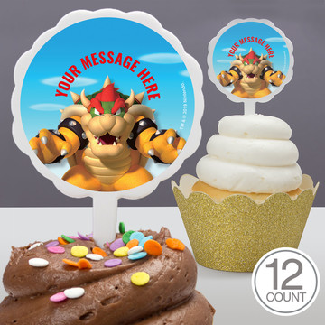Super Mario Bros. Bowser Personalized Cupcake Picks (12 Count)