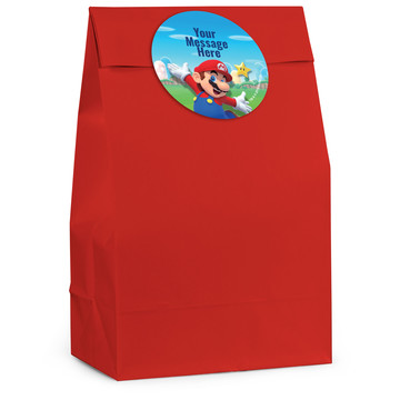 Super Mario Bros. Mario Personalized Favor Bag (12 Pack)
