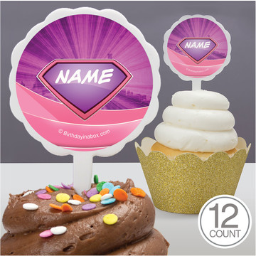 Supergirl Personalized Cupcake Picks (12 Count)