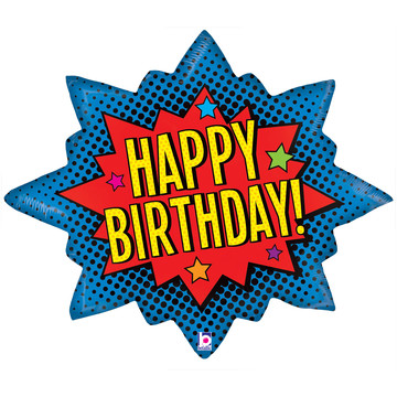 "Superhero Birthday Burst 32"" Balloon (1)"