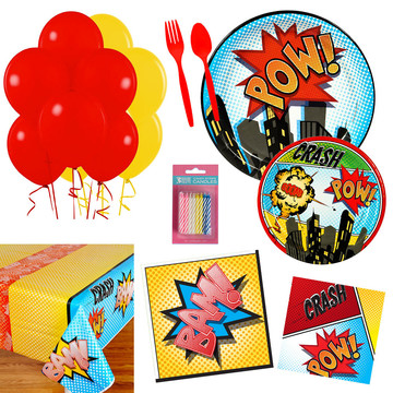 Superhero Comics Party Essentials Kit , Serves 16