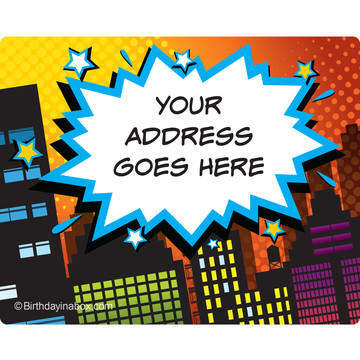 Superhero Comics Personalized Address Labels (Sheet of 15)