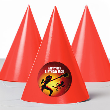 Superhero Family Personalized Party Hats (8 Count)