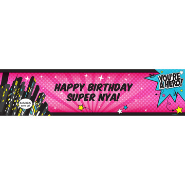 Superhero Girl Personalized Banner (Each)