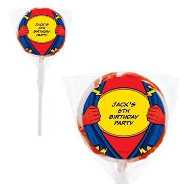 "Superhero Party Personalized 2"" Lollipops (20 Pack)"