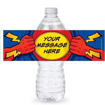 Superhero Party Personalized Bottle Labels (Sheet of 4)
