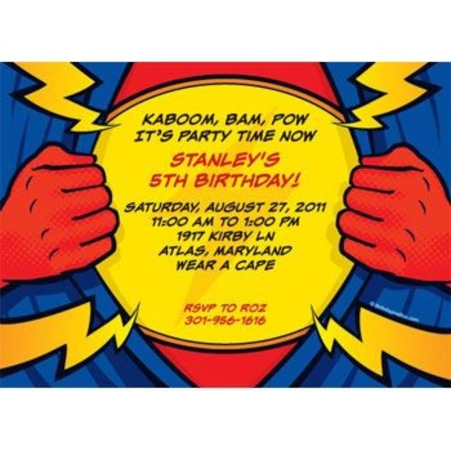 View larger image of Superhero Party Personalized Invitation (each)