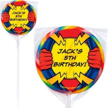 Superhero Party Personalized Lollipops (pack of 12)