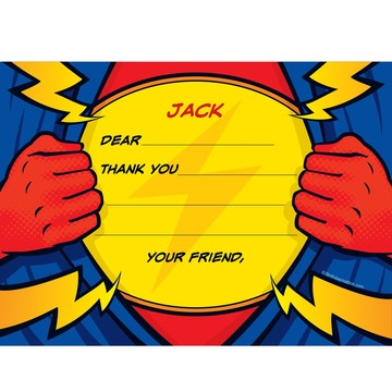 Superhero Party Personalized Thank You Note (each)